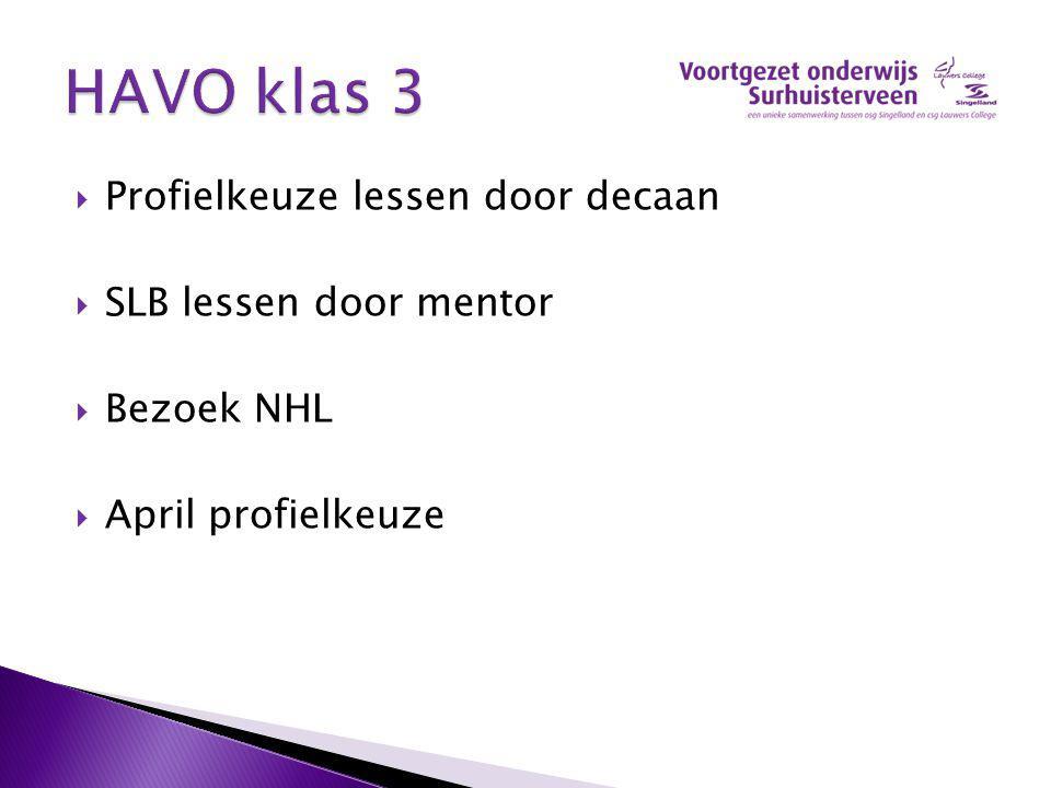  Profielkeuze lessen door decaan  SLB lessen door mentor  Bezoek NHL  April profielkeuze