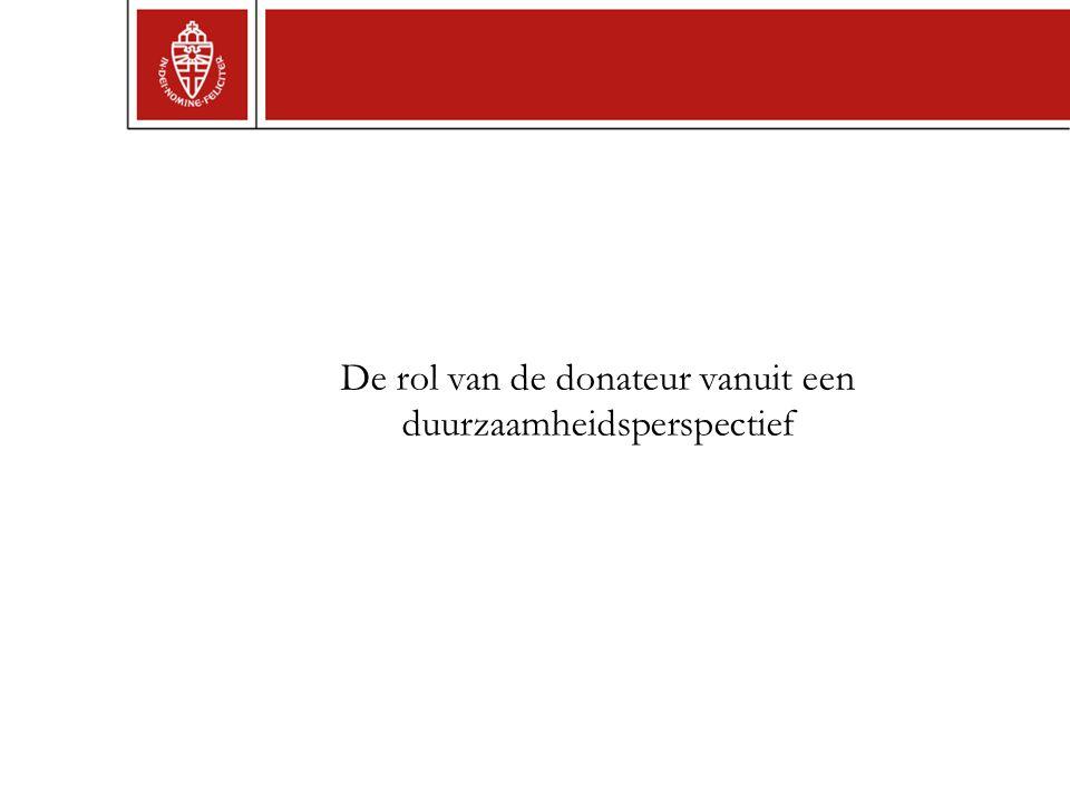 De rol van de donateur vanuit een duurzaamheidsperspectief