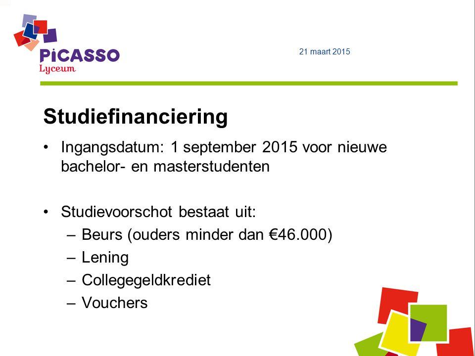 Studiefinanciering Ingangsdatum: 1 september 2015 voor nieuwe bachelor- en masterstudenten Studievoorschot bestaat uit: –Beurs (ouders minder dan €46.000) –Lening –Collegegeldkrediet –Vouchers 21 maart 2015