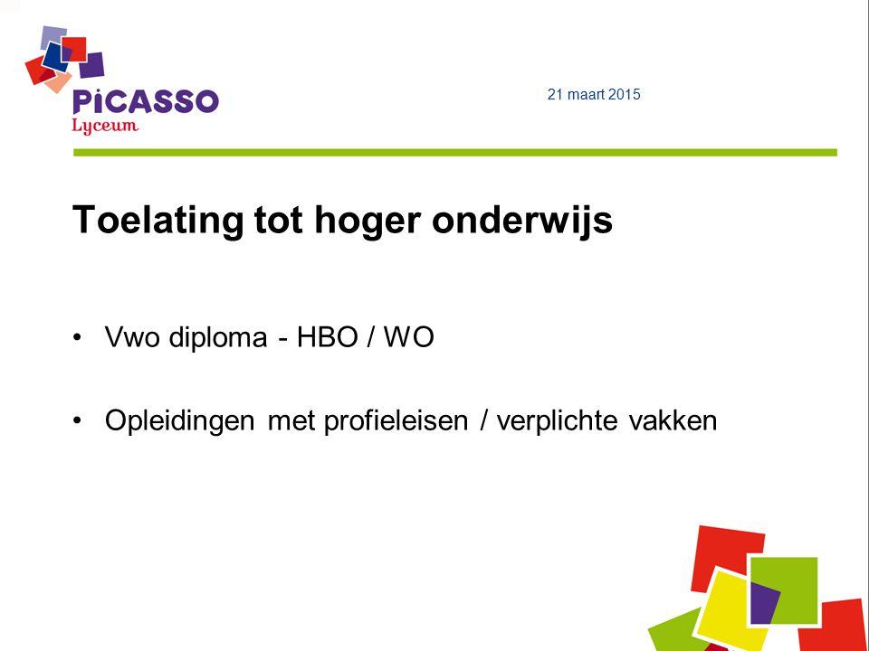Toelating tot hoger onderwijs 21 maart 2015 Vwo diploma - HBO / WO Opleidingen met profieleisen / verplichte vakken