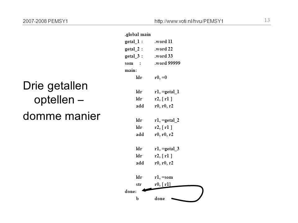 2007-2008 PEMSY1http://www.voti.nl/hvu/PEMSY1 13 Drie getallen optellen – domme manier.global main getal_1 :.word 11 getal_2 :.word 22 getal_3 :.word 33 som :.word 99999 main: ldr r0, =0 ldr r1, =getal_1 ldr r2, [ r1 ] addr0, r0, r2 ldr r1, =getal_2 ldr r2, [ r1 ] addr0, r0, r2 ldr r1, =getal_3 ldr r2, [ r1 ] add r0, r0, r2 ldr r1, =som str r0, [ r1] done: b done