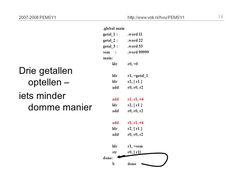 2007-2008 PEMSY1http://www.voti.nl/hvu/PEMSY1 14 Drie getallen optellen – iets minder domme manier.global main getal_1 :.word 11 getal_2 :.word 22 getal_3 :.word 33 som :.word 99999 main: ldr r0, =0 ldr r1, =getal_1 ldr r2, [ r1 ] addr0, r0, r2 add r1, r1, #4 ldr r2, [ r1 ] addr0, r0, r2 add r1, r1, #4 ldr r2, [ r1 ] add r0, r0, r2 ldr r1, =som str r0, [ r1] done: b done