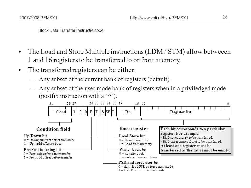 2007-2008 PEMSY1http://www.voti.nl/hvu/PEMSY1 26 Block Data Transfer instructie code The Load and Store Multiple instructions (LDM / STM) allow betweeen 1 and 16 registers to be transferred to or from memory.