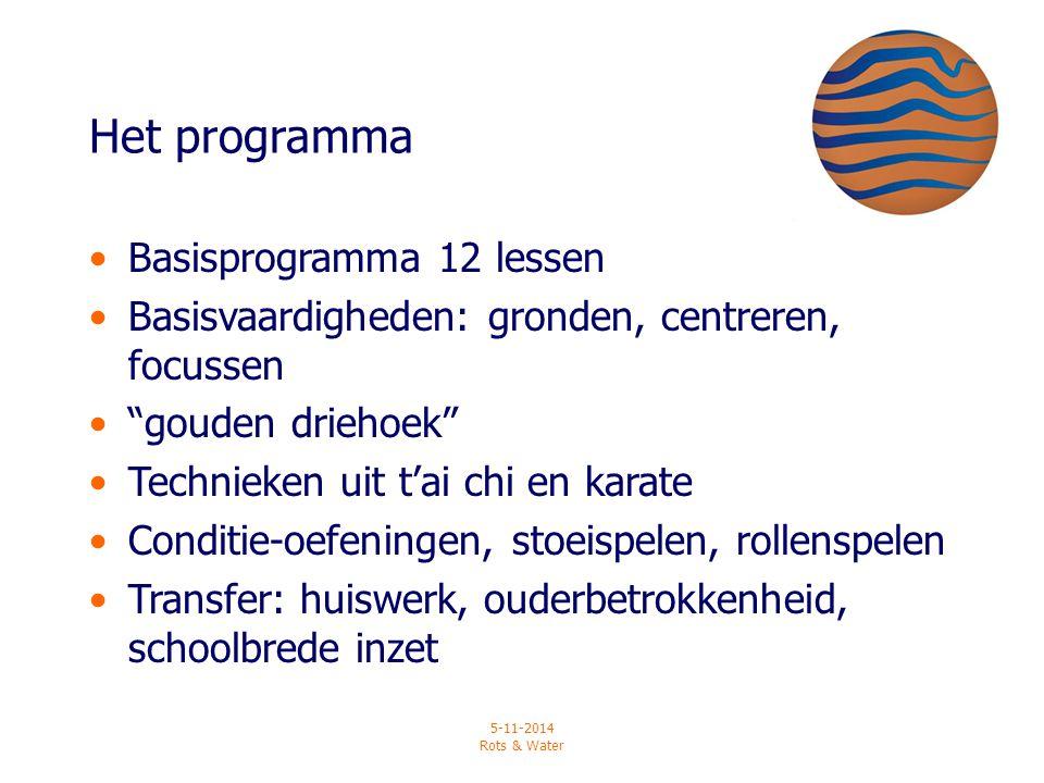 """5-11-2014 Rots & Water Het programma Basisprogramma 12 lessen Basisvaardigheden: gronden, centreren, focussen """"gouden driehoek"""" Technieken uit t'ai ch"""