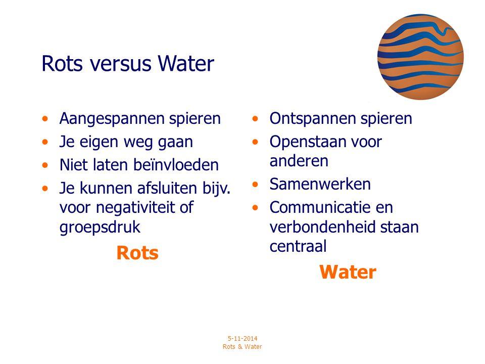 5-11-2014 Rots & Water Rots versus Water Aangespannen spieren Je eigen weg gaan Niet laten beïnvloeden Je kunnen afsluiten bijv. voor negativiteit of