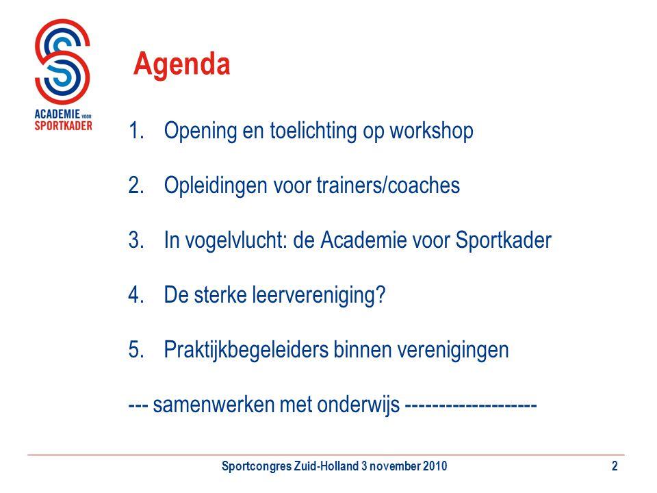 Sportcongres Zuid-Holland 3 november 20102 Agenda 1.Opening en toelichting op workshop 2.Opleidingen voor trainers/coaches 3.In vogelvlucht: de Academ