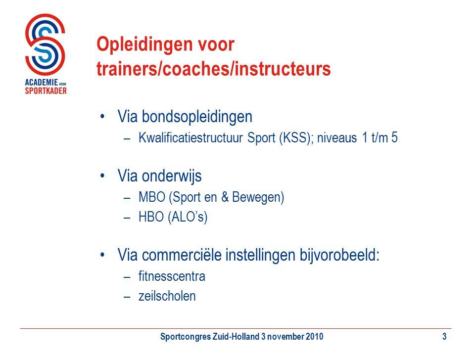 Sportcongres Zuid-Holland 3 november 20103 Opleidingen voor trainers/coaches/instructeurs Via bondsopleidingen –Kwalificatiestructuur Sport (KSS); niv