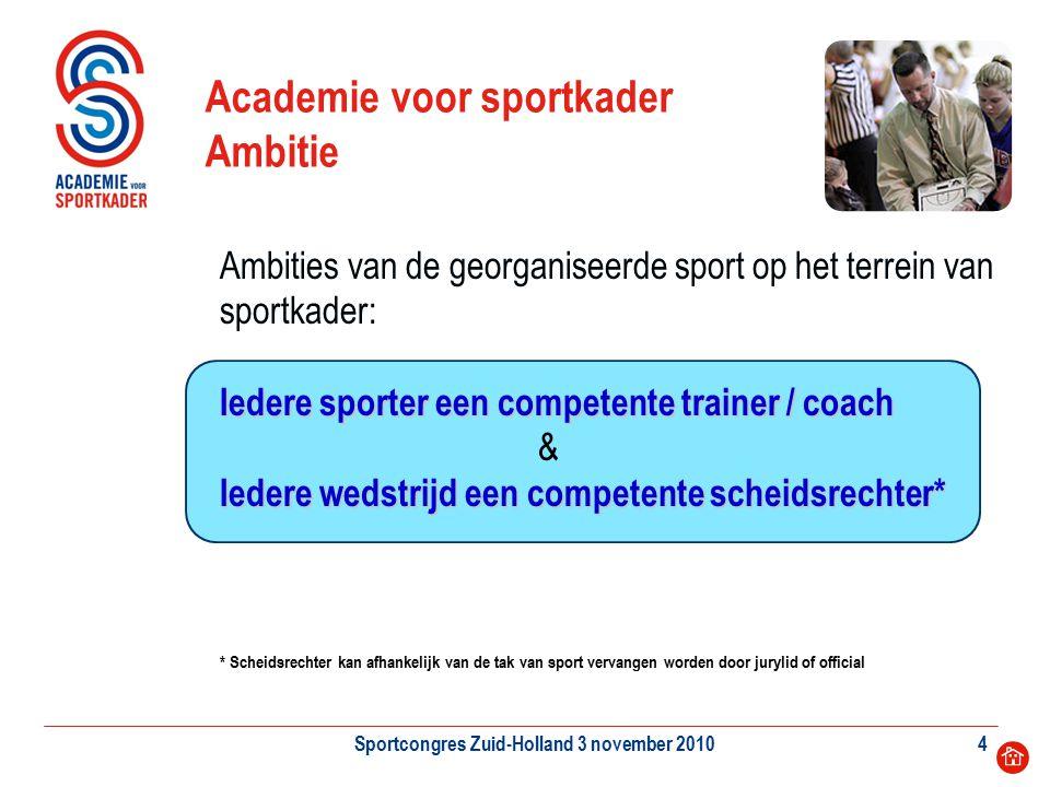 Sportcongres Zuid-Holland 3 november 20104 Academie voor sportkader Ambitie Iedere sporter een competente trainer / coach Iedere wedstrijd een compete