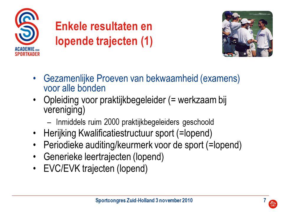 Sportcongres Zuid-Holland 3 november 20107 Enkele resultaten en lopende trajecten (1) Gezamenlijke Proeven van bekwaamheid (examens) voor alle bonden