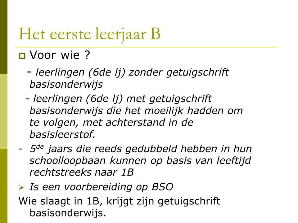 Het eerste leerjaar B  Voor wie ? - leerlingen (6de lj) zonder getuigschrift basisonderwijs - leerlingen (6de lj) met getuigschrift basisonderwijs di