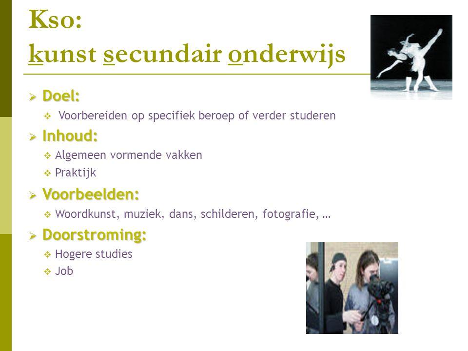Kso: kunst secundair onderwijs  Doel:  Voorbereiden op specifiek beroep of verder studeren  Inhoud:  Algemeen vormende vakken  Praktijk  Voorbee