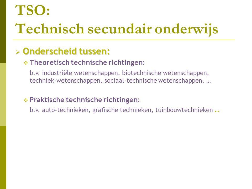 TSO: Technisch secundair onderwijs  Onderscheid tussen:  Theoretisch technische richtingen: b.v. industriële wetenschappen, biotechnische wetenschap