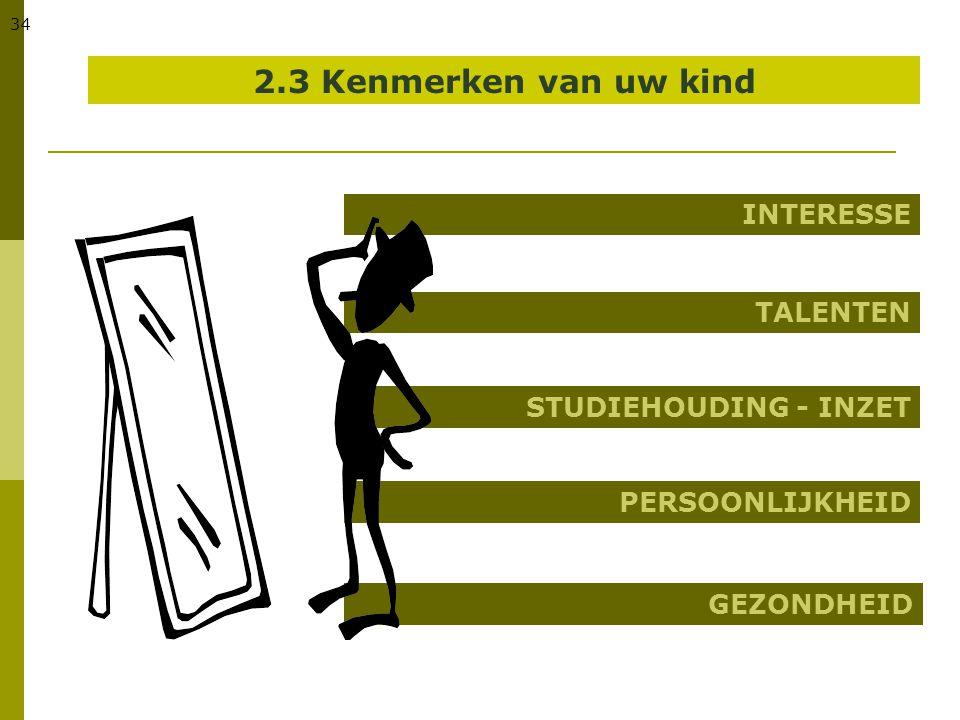34 2.3 Kenmerken van uw kind INTERESSE TALENTEN STUDIEHOUDING - INZET PERSOONLIJKHEID GEZONDHEID
