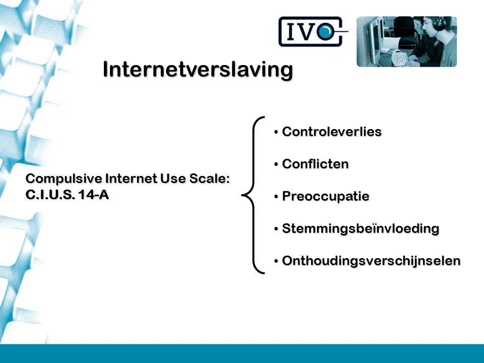 Compulsive Internet Use Scale: C.I.U.S. 14-A Controleverlies Conflicten Conflicten Preoccupatie Preoccupatie Stemmingsbeïnvloeding Stemmingsbeïnvloedi