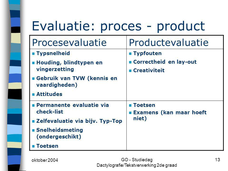 oktober 2004 GO - Studiedag Dactylografie/Tekstverwerking 2de graad 13 Evaluatie: proces - product ProcesevaluatieProductevaluatie Typsnelheid Houding