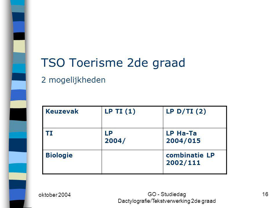 oktober 2004 GO - Studiedag Dactylografie/Tekstverwerking 2de graad 16 TSO Toerisme 2de graad 2 mogelijkheden KeuzevakLP TI (1)LP D/TI (2) TILP 2004/