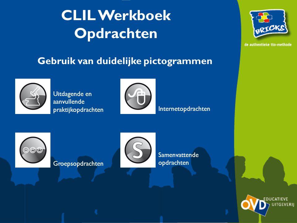 Uitdagende en aanvullende praktijkopdrachten Groepsopdrachten Internetopdrachten Samenvattende opdrachten CLIL Werkboek Opdrachten Gebruik van duidelijke pictogrammen