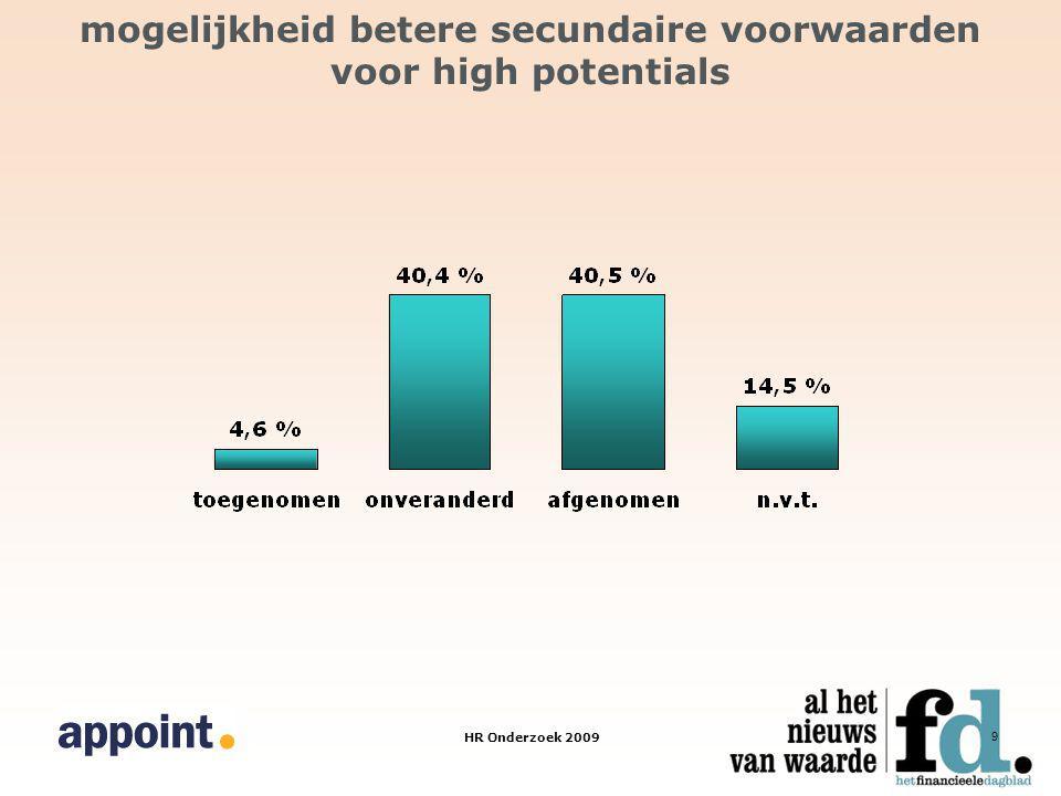 HR Onderzoek 2009 9 mogelijkheid betere secundaire voorwaarden voor high potentials