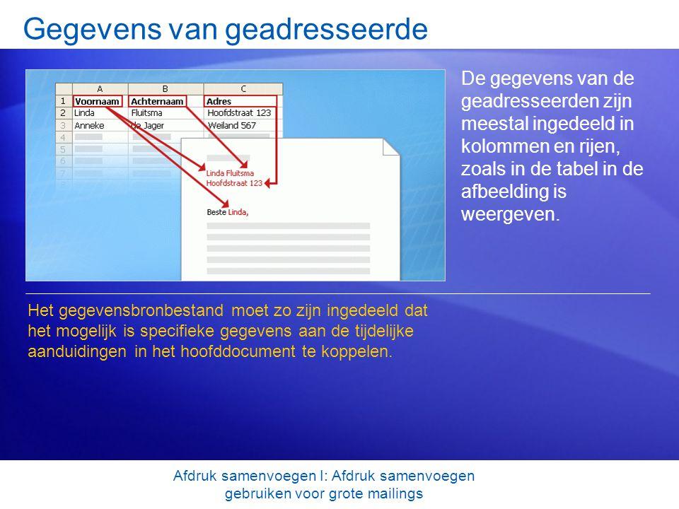 Gegevens van geadresseerde De gegevens van de geadresseerden zijn meestal ingedeeld in kolommen en rijen, zoals in de tabel in de afbeelding is weerge