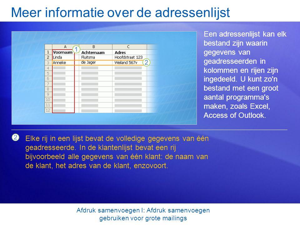 Meer informatie over de adressenlijst Een adressenlijst kan elk bestand zijn waarin gegevens van geadresseerden in kolommen en rijen zijn ingedeeld. U