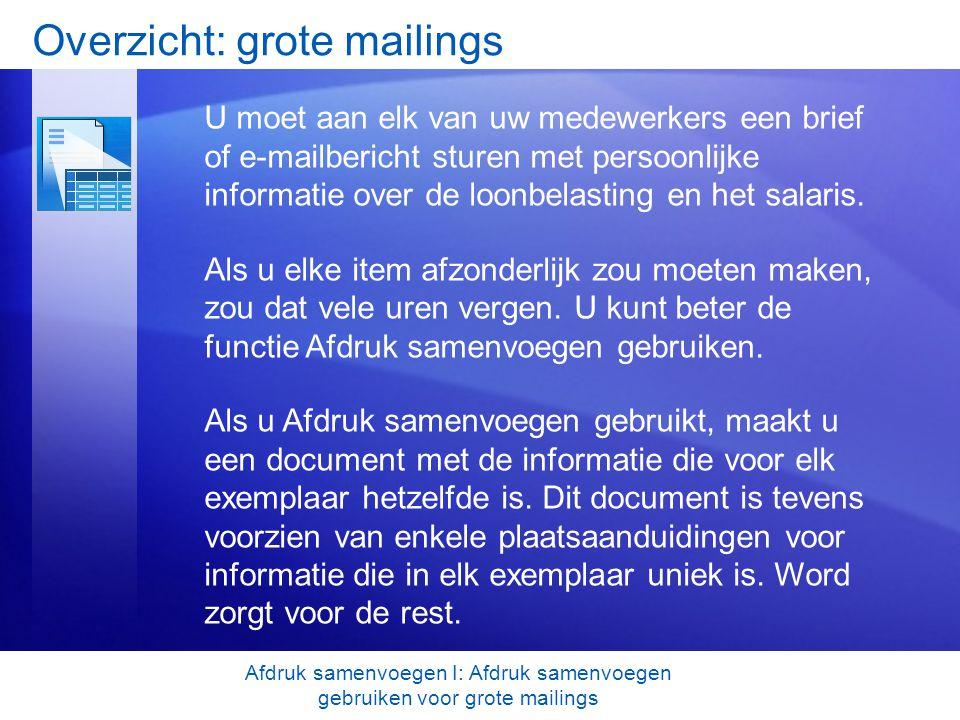 Test 1, vraag 1: antwoord Het document waarmee u begint, dat zowel tekst bevat die identiek is voor elke samengevoegde brief, envelop, enzovoort, als tijdelijke aanduidingen voor de unieke gegevens van de geadresseerden.