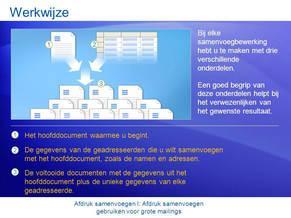 Hoofddocument Het hoofddocument is het document waarmee u begint.