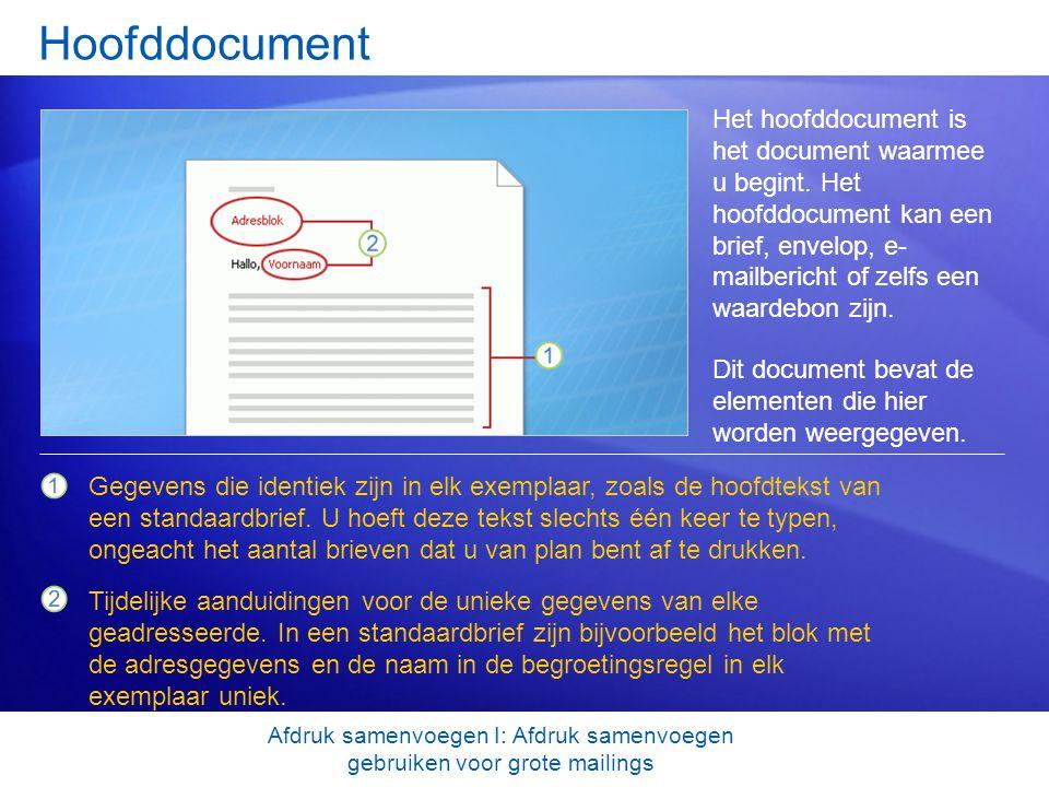 Gegevens van geadresseerde Bij een samenvoegbewerking worden de tijdelijke aanduidingen die u aan het hoofddocument hebt toegevoegd, vervangen door de gegevens van de geadresseerden, die in elk samengevoegd exemplaar uniek zijn.