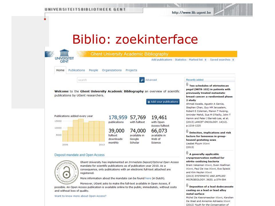 Biblio: zoekinterface