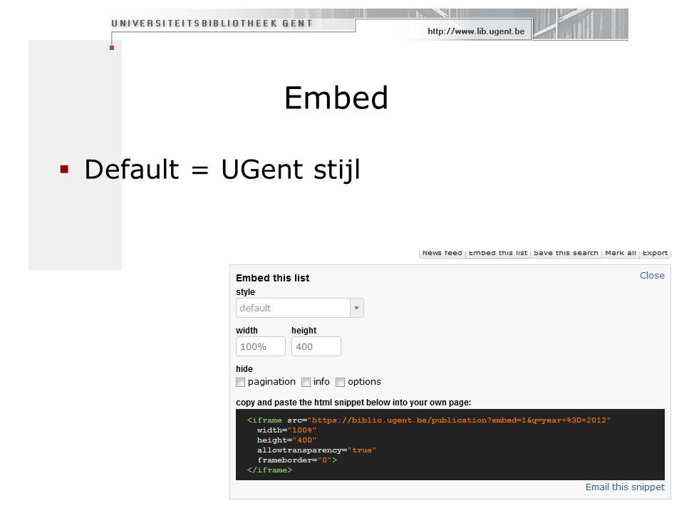 Embed  Default = UGent stijl