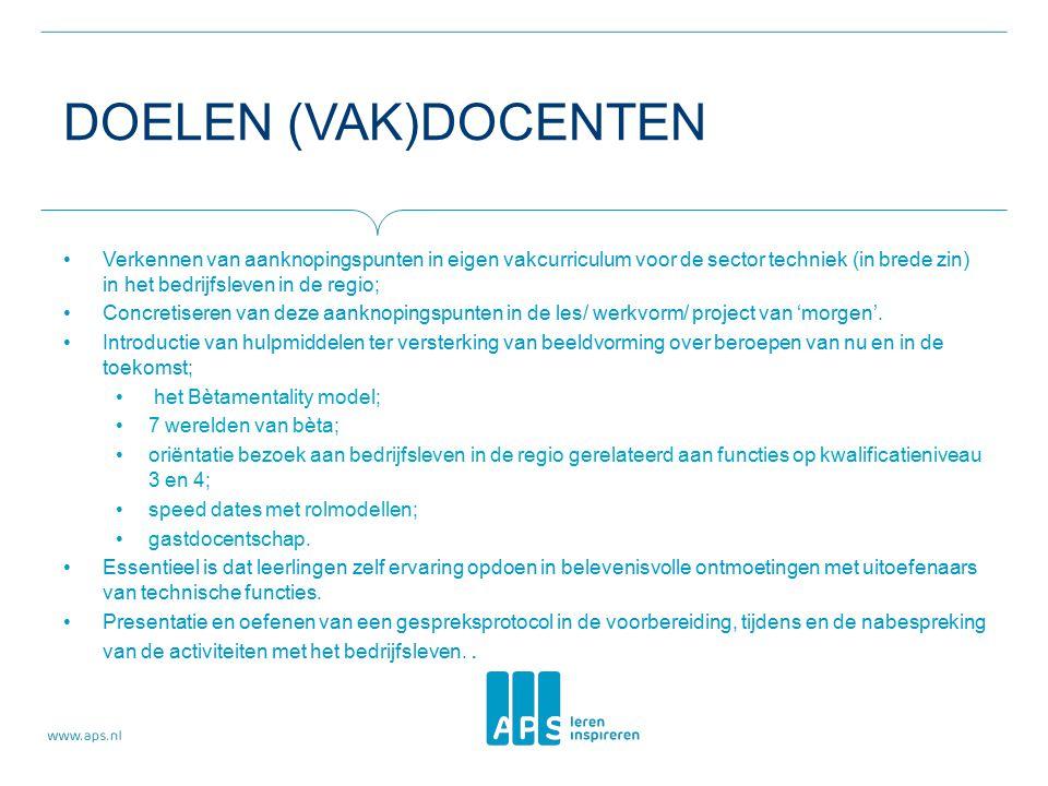 DOELEN (VAK)DOCENTEN Verkennen van aanknopingspunten in eigen vakcurriculum voor de sector techniek (in brede zin) in het bedrijfsleven in de regio; Concretiseren van deze aanknopingspunten in de les/ werkvorm/ project van 'morgen'.