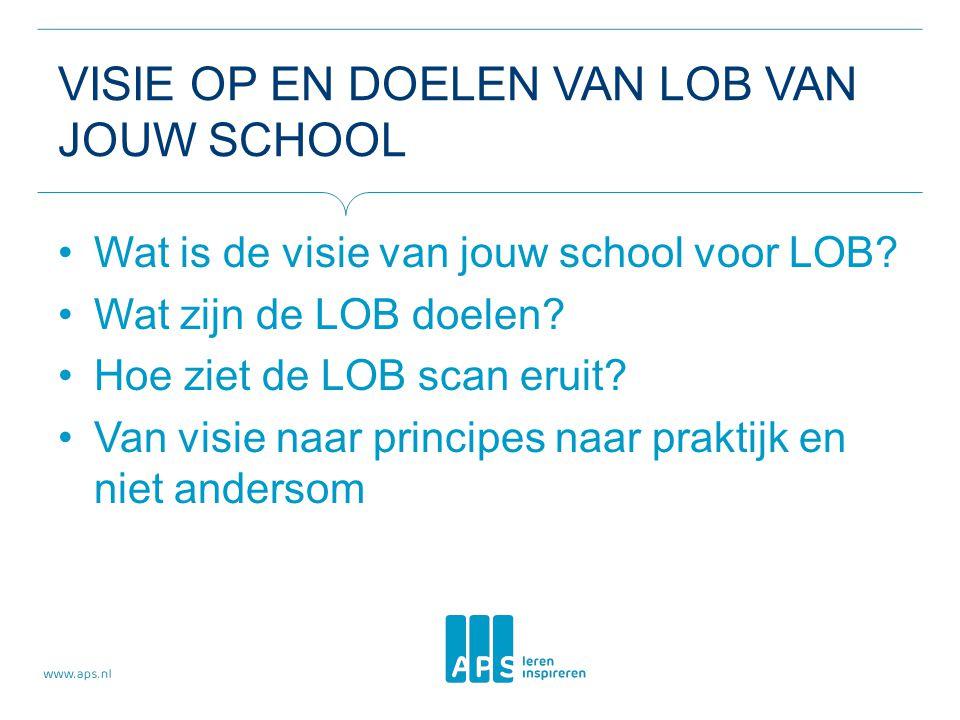 VISIE OP EN DOELEN VAN LOB VAN JOUW SCHOOL Wat is de visie van jouw school voor LOB? Wat zijn de LOB doelen? Hoe ziet de LOB scan eruit? Van visie naa
