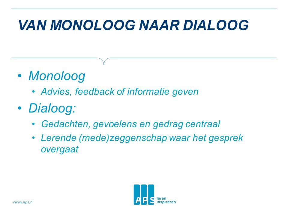 VAN MONOLOOG NAAR DIALOOG Monoloog Advies, feedback of informatie geven Dialoog: Gedachten, gevoelens en gedrag centraal Lerende (mede)zeggenschap waa