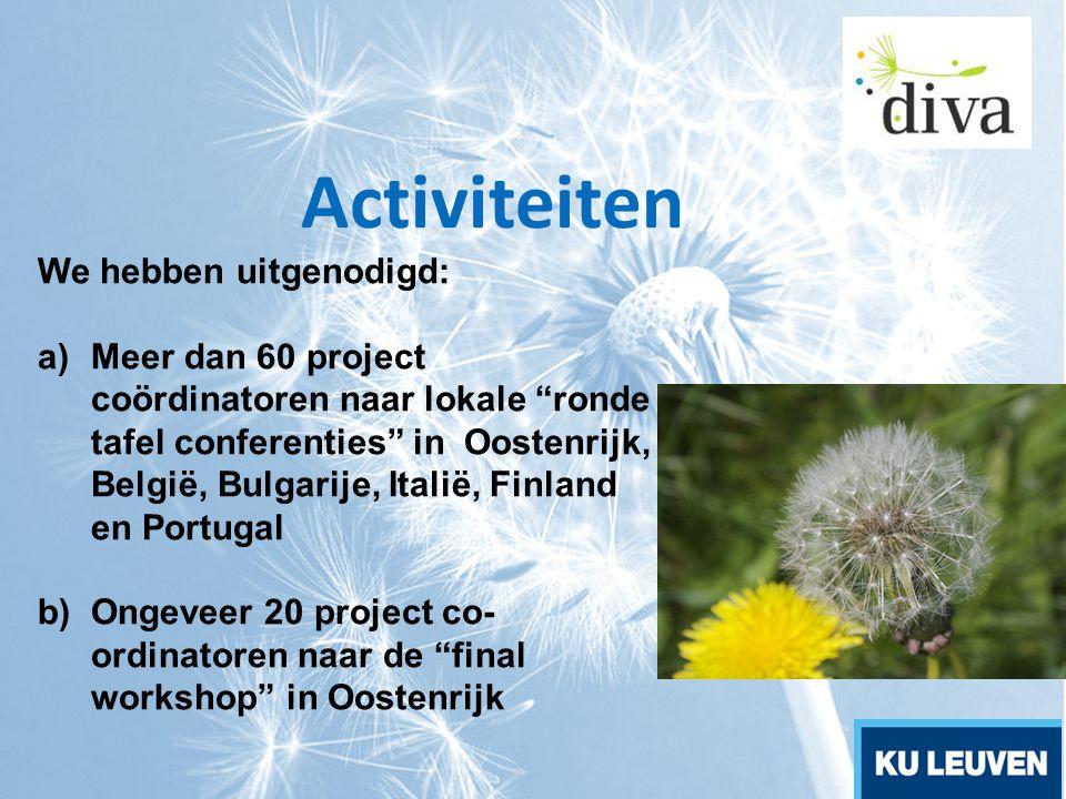 """Activiteiten We hebben uitgenodigd: a)Meer dan 60 project coördinatoren naar lokale """"ronde tafel conferenties"""" in Oostenrijk, België, Bulgarije, Itali"""