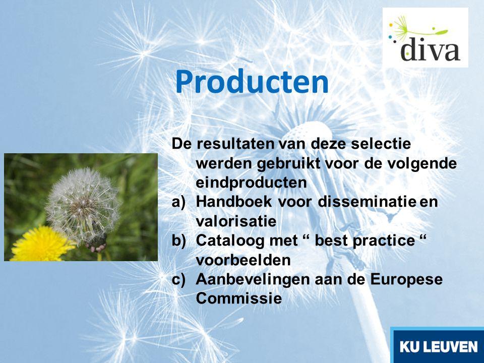 """Producten De resultaten van deze selectie werden gebruikt voor de volgende eindproducten a)Handboek voor disseminatie en valorisatie b)Cataloog met """""""