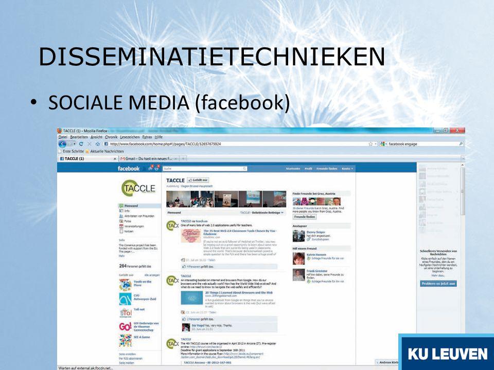 SOCIALE MEDIA (facebook) DISSEMINATIETECHNIEKEN