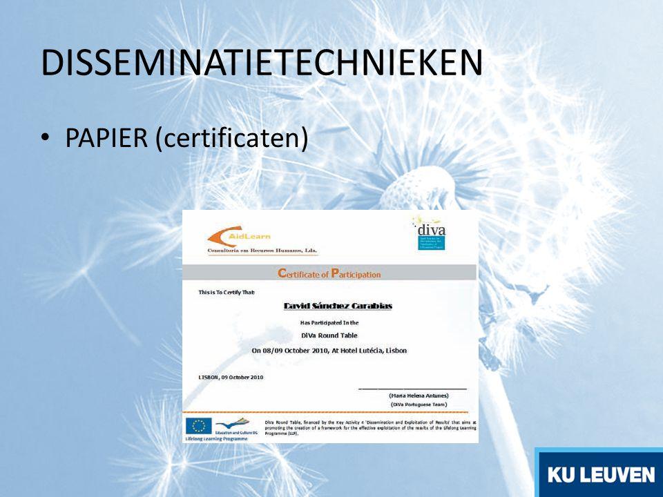 DISSEMINATIETECHNIEKEN PAPIER (certificaten)
