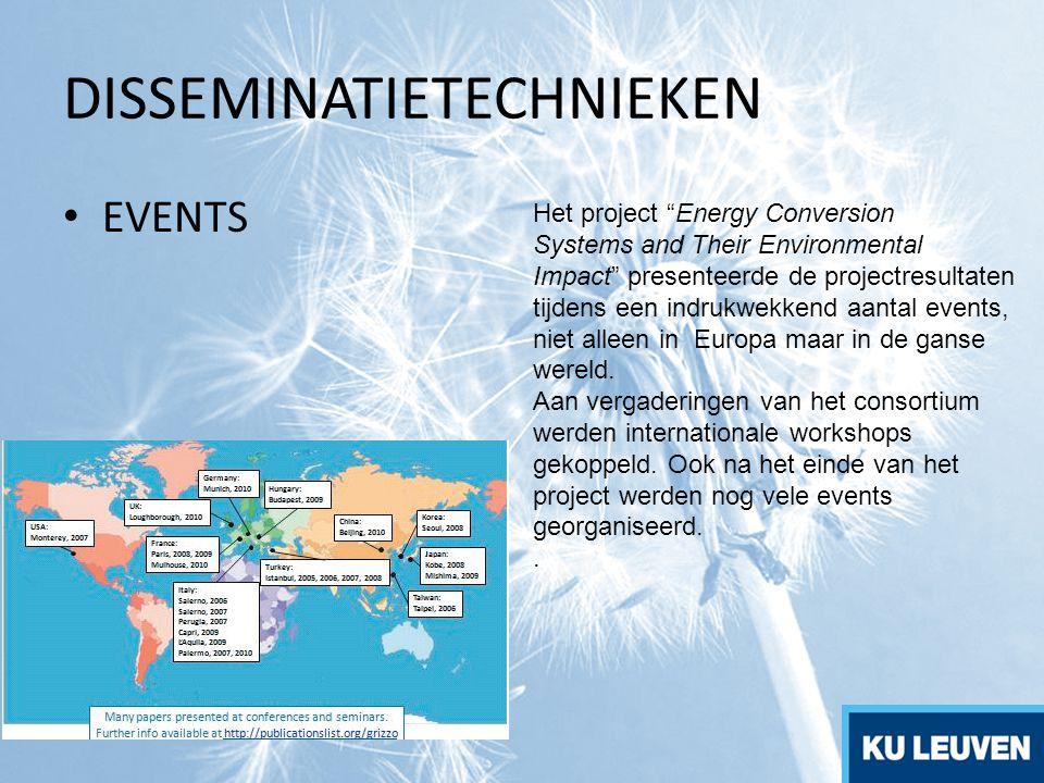 """DISSEMINATIETECHNIEKEN EVENTS Het project """"Energy Conversion Systems and Their Environmental Impact"""" presenteerde de projectresultaten tijdens een ind"""