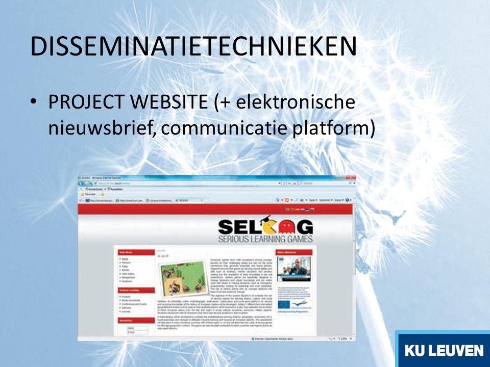 DISSEMINATIETECHNIEKEN PROJECT WEBSITE (+ elektronische nieuwsbrief, communicatie platform)