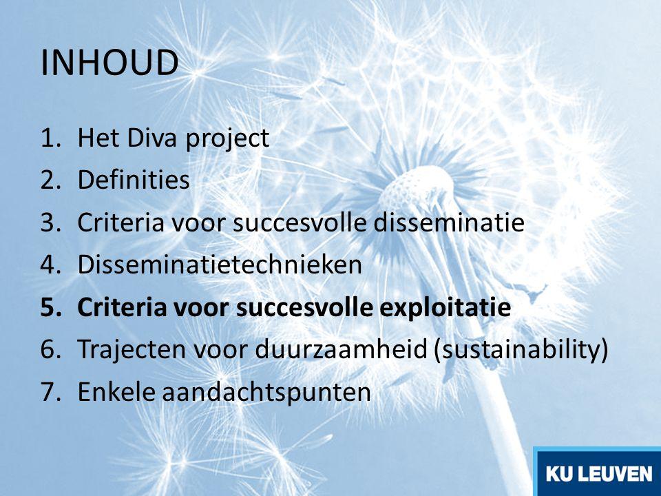 INHOUD 1.Het Diva project 2.Definities 3.Criteria voor succesvolle disseminatie 4.Disseminatietechnieken 5.Criteria voor succesvolle exploitatie 6.Tra