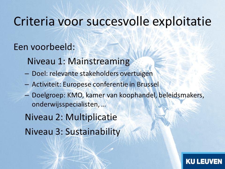 Criteria voor succesvolle exploitatie Een voorbeeld: Niveau 1: Mainstreaming – Doel: relevante stakeholders overtuigen – Activiteit: Europese conferen