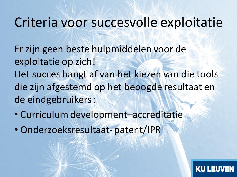 Criteria voor succesvolle exploitatie Er zijn geen beste hulpmiddelen voor de exploitatie op zich! Het succes hangt af van het kiezen van die tools di