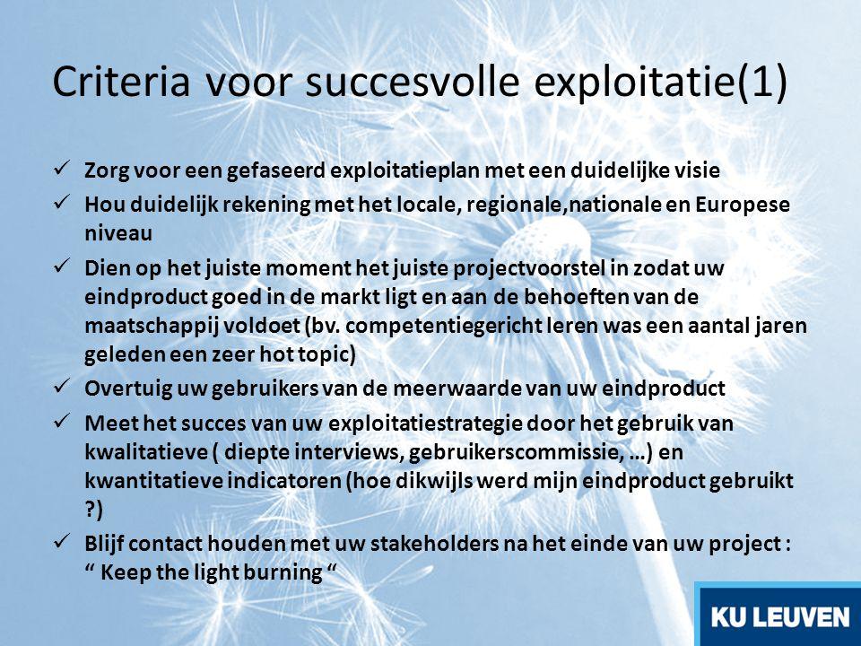 Criteria voor succesvolle exploitatie(1) Zorg voor een gefaseerd exploitatieplan met een duidelijke visie Hou duidelijk rekening met het locale, regio