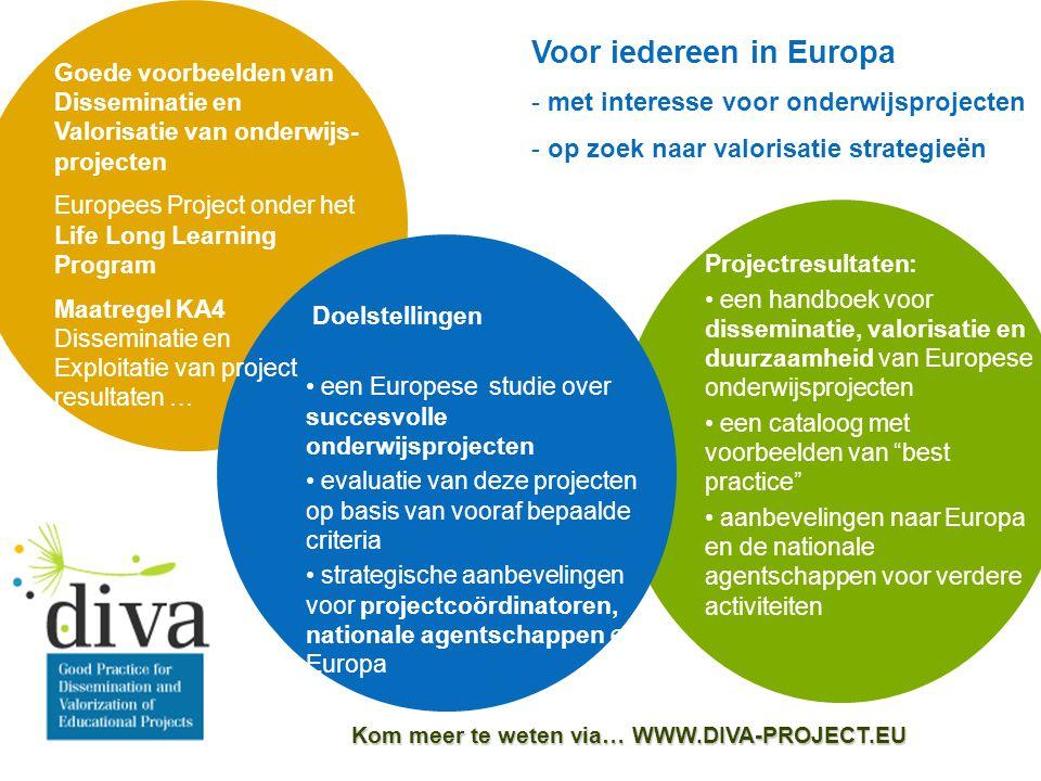 Kom meer te weten via… WWW.DIVA-PROJECT.EU Goede voorbeelden van Disseminatie en Valorisatie van onderwijs- projecten Europees Project onder het Life