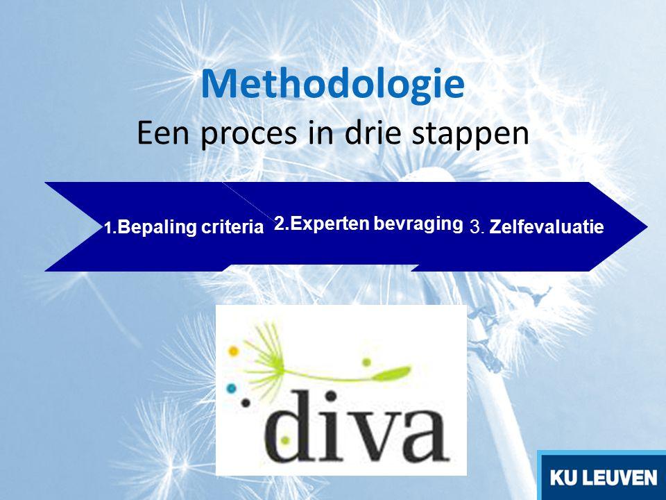 Bepaling van criteria Doelstellingen: ontwikkeling van criteria om de selectie van de best practice projecten mogelijk te maken Input: - Ervaring van de partners, brainstorming,….