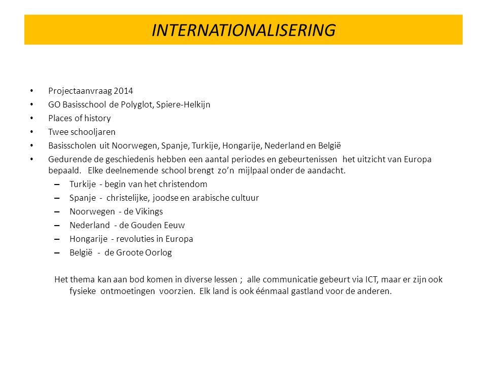 INTERNATIONALISERING Projectaanvraag 2014 GO Basisschool de Polyglot, Spiere-Helkijn Places of history Twee schooljaren Basisscholen uit Noorwegen, Spanje, Turkije, Hongarije, Nederland en België Gedurende de geschiedenis hebben een aantal periodes en gebeurtenissen het uitzicht van Europa bepaald.