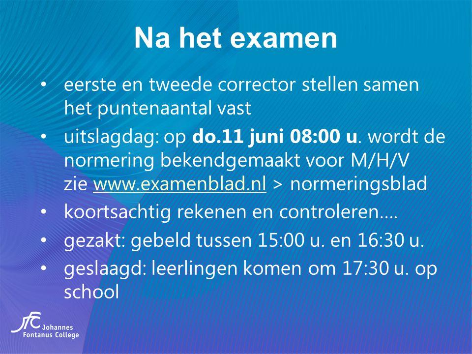 Na het examen eerste en tweede corrector stellen samen het puntenaantal vast uitslagdag: op do.11 juni 08:00 u. wordt de normering bekendgemaakt voor