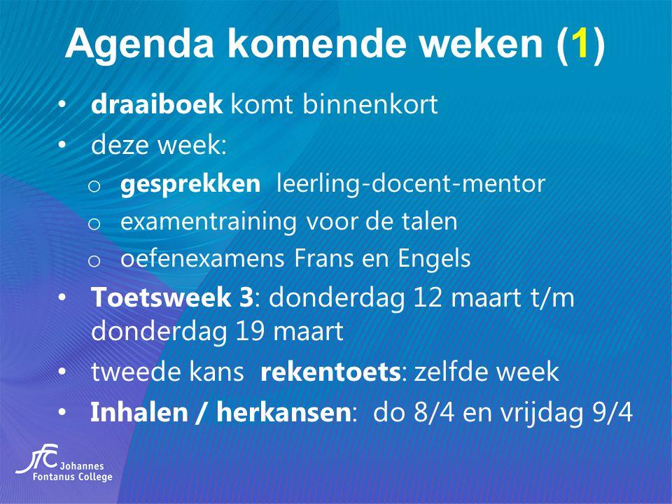 Agenda komende weken (1) draaiboek komt binnenkort deze week: o gesprekken leerling-docent-mentor o examentraining voor de talen o oefenexamens Frans