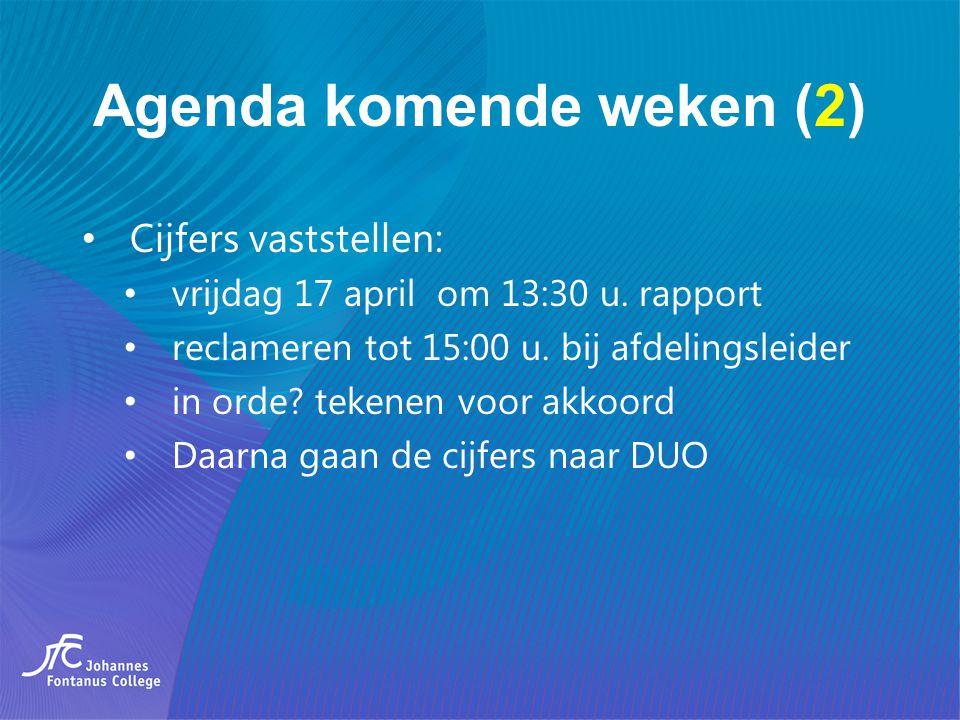 Agenda komende weken (2) Cijfers vaststellen: vrijdag 17 april om 13:30 u. rapport reclameren tot 15:00 u. bij afdelingsleider in orde? tekenen voor a