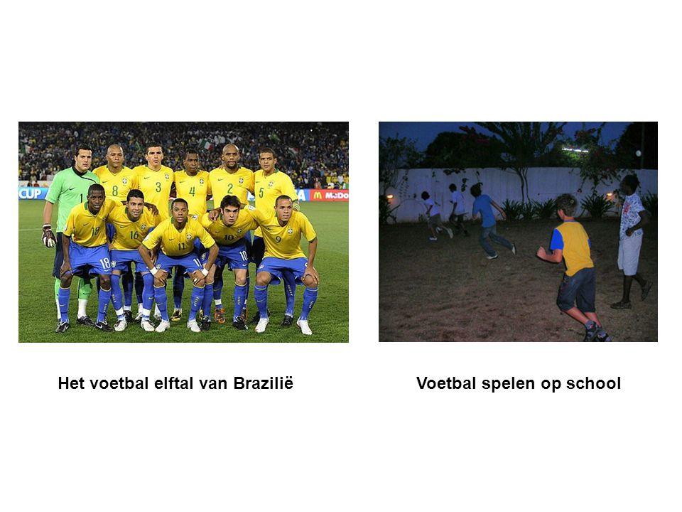 Het voetbal elftal van Brazilië Voetbal spelen op school