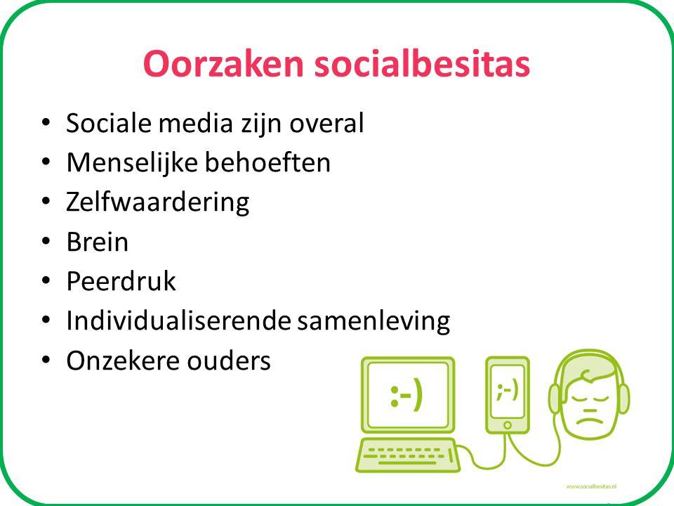 Oorzaken socialbesitas Sociale media zijn overal Menselijke behoeften Zelfwaardering Brein Peerdruk Individualiserende samenleving Onzekere ouders